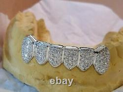 14K Solid Yellow or White Gold 6pc bottom REAL Diamond GRILLZ Gold Teeth