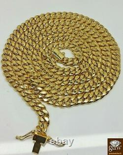 14K Yellow Gold Cuban Link Chain 8mm 28 inch Long BOX LOCK Men's Necklace REAL