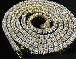 14K Yellow Gold Prong Set 1 Row Genuine Diamond Chain Necklace 7.5 ct 26