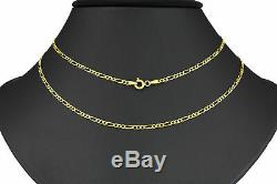 14K Yellow Gold REAL Womens 2mm Italian Figaro Link Chain Pendant Necklace 18