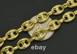 14K Yellow REAL GOLD Puffed Mariner Gucci Link Chain Necklace 7mm 18''2024