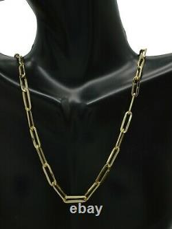 14K Yellow REAL GOLD paper clip Link 4mm Chain Necklace 16'' 18'' 20 22'
