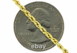 14k Real Yellow Gold 2.5mm Diamond Cut Rope Chain Link Pendant Necklace 16- 30