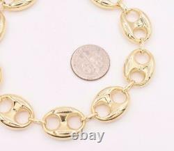 15mm Puffed Mariner Anchor Link Chain Bracelet Real 10K Yellow Gold Unisex