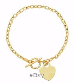 17 Heart Toggle Tag Oval Chain Charm Necklace Real 14K Yellow Gold Engravable
