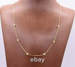18 Diamond Cut Bead Ball Cable Chain Necklace Real 10K Yellow Gold