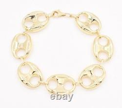 19mm Puffed Mariner Anchor Link Chain Bracelet Real 10K Yellow Gold Unisex