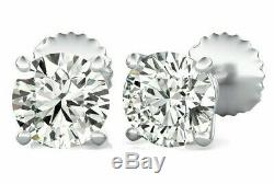 1.00 ct. T. W. Genuine Round Diamond Stud Earrings 14K White, Rose or Yellow Gold