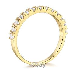 1.25 Ct Round Cut Real 14k Yellow Gold Engagement Wedding Anniversary Band Ring