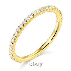 1.25 Ct Round Real 14k Yellow Gold Pavé Engagement Wedding Anniversary Band Ring