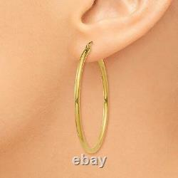 1.5 Plain Shiny Round Tube Hoop Earrings REAL 10K Yellow Gold 2mm X 40mm