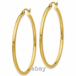 1.5 Plain Shiny Round Tube Hoop Earrings REAL 14K Yellow Gold 2mm X 40mm