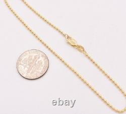 1.5mm Round All Shiny Plain Bead Ball Chain Bracelet Real Solid 14K Yellow Gold