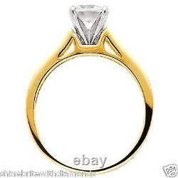 1.75 Ct Round Cut Engagement Wedding Ring Cathedral Setting Real 14K Yellow Gold