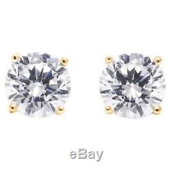 1.75 Ct. Round Earrings Studs Real 14K Yellow Gold Brilliant Basket Screw Back