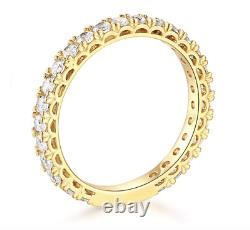 1.75 Ct Round Real 14k Yellow Gold Eternity Pavé Anniversary Wedding Band Ring