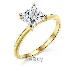 1 Ct Princess Solitaire Engagement Wedding Promise Ring Real 14K Yellow Gold