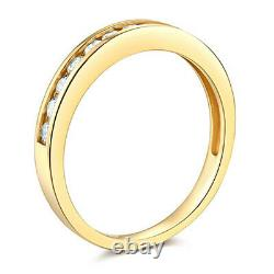 1 Ct Round Real 14k Yellow Gold Channel Engagement Wedding Anniversary Band Ring