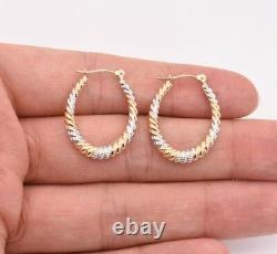 1 Oval Diamond Cut Twisted Hoop Earrings Real 14K Yellow White Two-Tone Gold