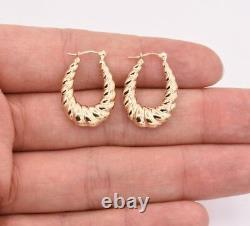 1 Oval Shiny Polished Graduated Twisted Hoop Earrings Real 14K Yellow Gold