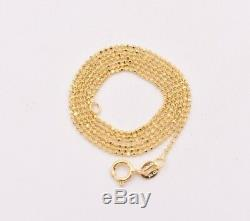1mm Round Diamond Cut Bead Ball Chain Necklace Real Solid 14K Yellow Gold