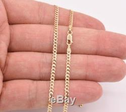 24 Cuban Curb Link Chain Necklace Real Solid 14K Yellow Gold 2.6mm