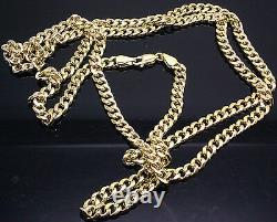 26 5mm Real 10K Gold Chain Men women Miami Cuban Chain link Necklace Yellow Gld