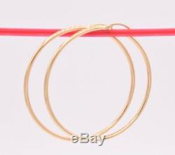 2 2mm X 50mm Large Plain Shiny Round Hoop Earrings REAL 14K Yellow Gold