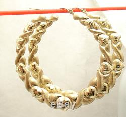 2.31 Large Diamond Cut Hearts and Kisses Hoop Earrings REAL 10K Yellow Gold