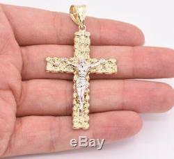 2 3/4 Big Nugget Textured Cross Crucifix Pendant Real 10K Yellow White Gold