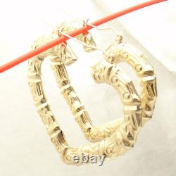 2 3/8 Large Heart Shaped Textured Bamboo Hoop Earrings REAL 10K Yellow Gold