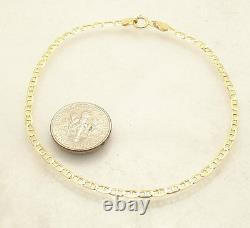 2.3mm 8 Mariner Anchor Gucci Link Chain Bracelet Real Solid 10K Yellow Gold