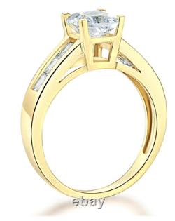 2.5 Ct Princess Cut Real 14K Yellow Gold Channel Setting Engagement Wedding Ring