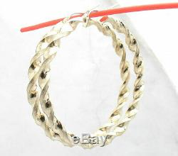 2 Full Twisted Round Hoop Earrings REAL 10K Yellow Gold 5mm X 52mm