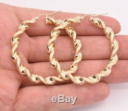2 Large Twisted Diamond Cut Round Satin Hoop Earrings Real 10K Yellow Gold