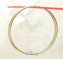 2mm X 60mm 2 3/8 Large Plain Shiny Endless Hoop Earrings REAL 14K Yellow Gold