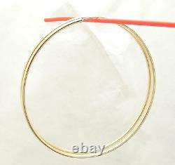 2mm X 70mm 2 3/4 Large Plain Shiny Endless Hoop Earrings REAL 14K Yellow Gold
