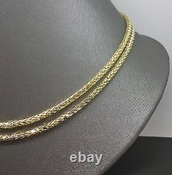 30 Inch Real 10k Yellow Gold Palm Chain Necklace 3mm A10B0 Franco RopeCuban