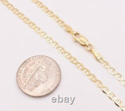 3.2mm Mariner Anchor Link Chain Necklace Real Solid 10K Yellow Gold