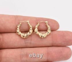 3/4 Graduated Multiple Hearts Oval Hoop Earrings Real 14K Yellow Gold