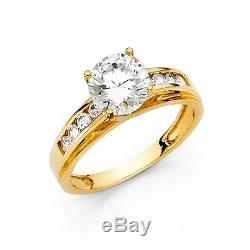 3 Ct Round Brilliant Cut Engagement Wedding Ring Trellis Real 14K Yellow Gold