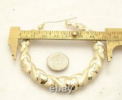3 Large Diamond Cut Hearts and Kisses Hoop Earrings REAL 10K Yellow Gold