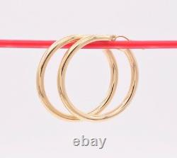 3mm X 35mm 1 3/8 Plain All Shiny Round Tube Hoop Earrings REAL 10K Yellow Gold