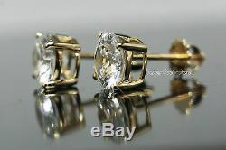 4.05 Carats Solid Real 14K yellow gold Studs Earrings Brilliant Screwback