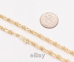 4.5mm Puffed Anchor Mariner Link Chain Necklace Real 14K Yellow Gold