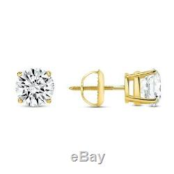 4 Ct Round Earrings Studs Real 14K Yellow Gold Brilliant Cut Basket Screw Back