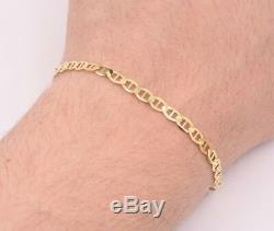 4mm Mariner Anchor Link Chain Bracelet Real Solid 10K Yellow Gold ALL SIZE