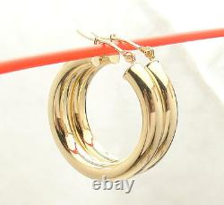 4mm X 25mm 1 All Shiny Round Hoop Earrings Real 14K Yellow Gold FREE SHIPPING
