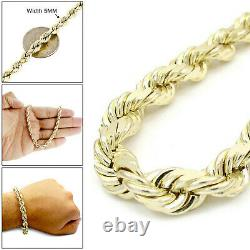 5MM Men's 10K Real Yellow Gold Rope Chain Wide Bracelet 9 Inches
