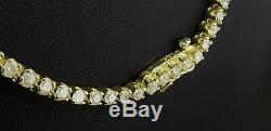 5.25ct REAL 100% diamond Eternity Tennis necklace 14k yellow gold certified D VS
